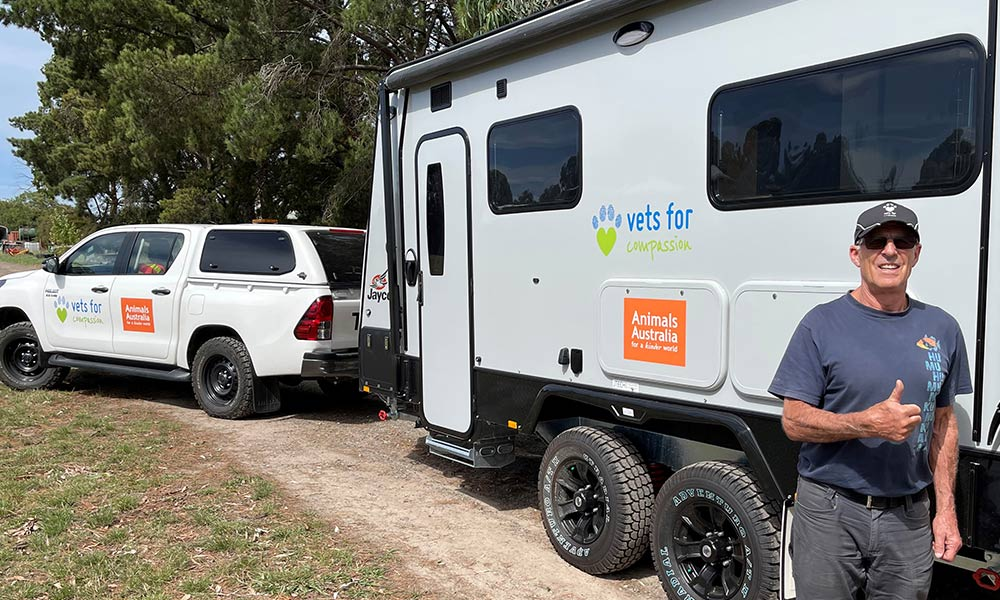 Dr Chris Barton of Vets For Compassion, with a new mobile vet triage clinics made possible by Animals Australia supporters.