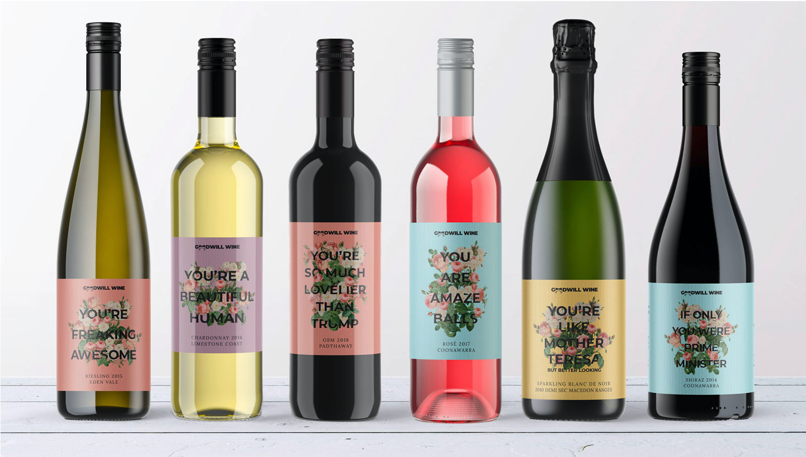 Goodwill Wine's labels are a fun way to remind the person you've given them to (or yourself!) that they're making the world better — just by drinking the wine and helping support charities like us.