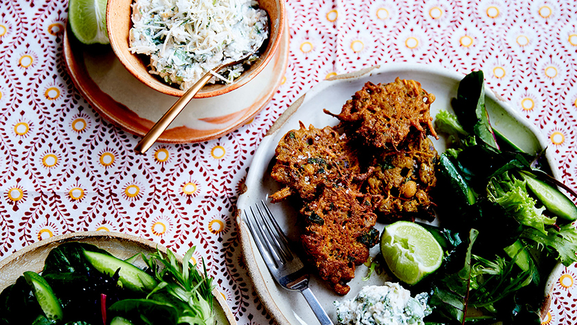 Indian chickpea fritters with coconut chutney
