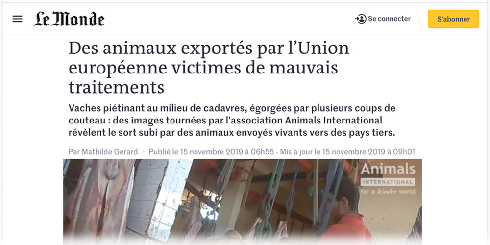 News article from Le Monde newspaper detailing the horrors of live export.
