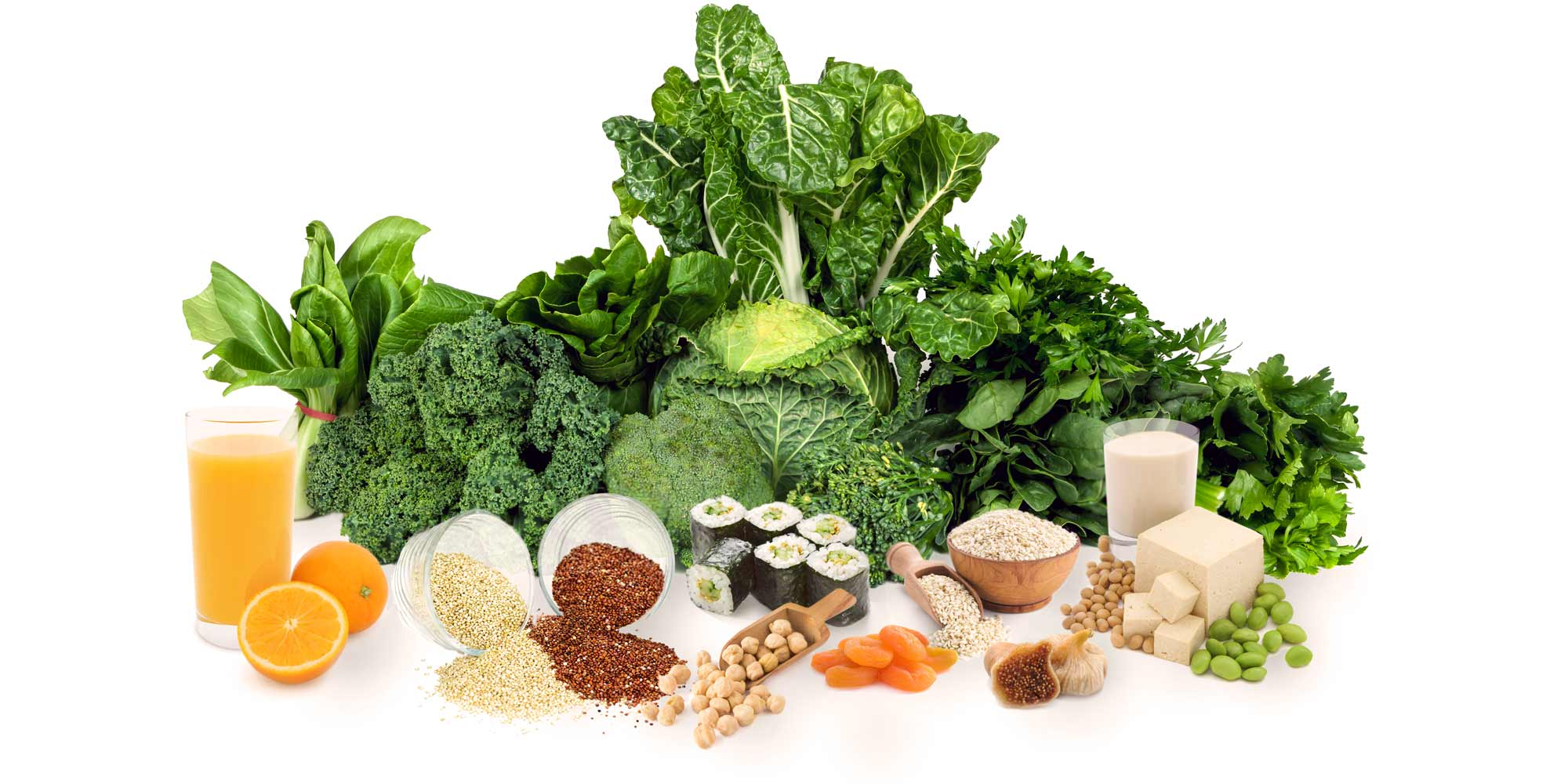 Just a small selection of the non dairy sources of calcium rich food: quinoa, sesame seeds, dark green leafy vegetables, seaweed, enriched fruit juice, chickpeas, dried figs and apricots.